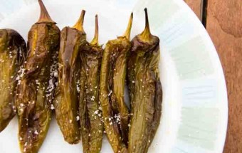 Spanish tapa of Roasted green peppers