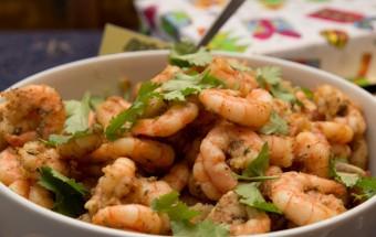 marinated shrimps with tomato and avocado salsa